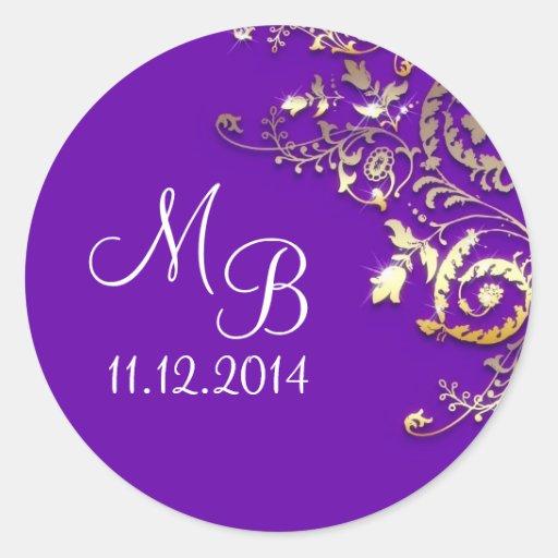 wedding monogram blue elegant sticker