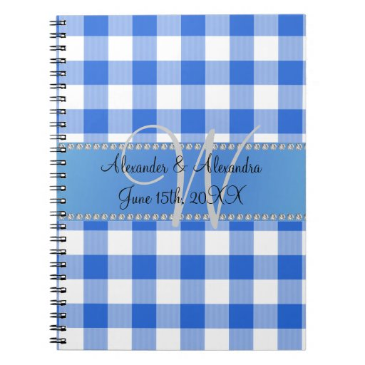 Wedding monogram blue gingham checkers notebook