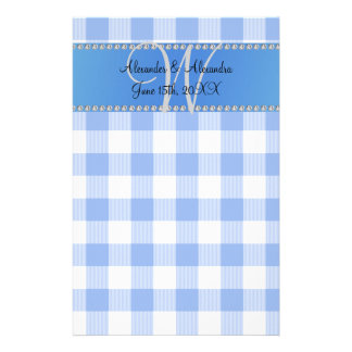 Wedding monogram blue gingham checkers stationery paper