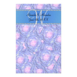 Wedding monogram blue roses customized stationery
