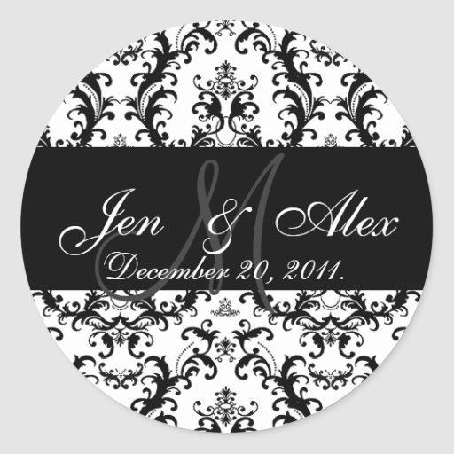 Wedding Monogram Bride Groom Date Damask Seal Stickers