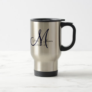 Wedding Monogram Bride Groom Date Navy Travel Mug