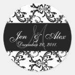 Wedding Monogram Bride Groom Date Paisley Seals Round Stickers