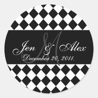 Wedding Monogram Bride Groom Date Seal Round Sticker