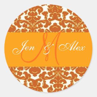 Wedding Monogram Bride Groom Orange Damask Sticker
