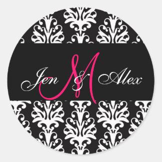 Wedding Monogram Bride Groom Pink Black Sticker