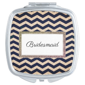 Wedding-Monogram-Champagne-Navy-Favor's Makeup Mirror
