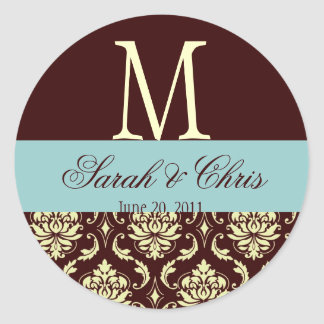 Wedding Monogram Damask Brown Blue Ivory Seal Sticker