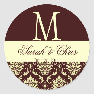Wedding Monogram Damask Brown Ivory Seal