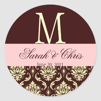 Wedding Monogram Damask Brown Pink Ivory Seal Classic Round Sticker