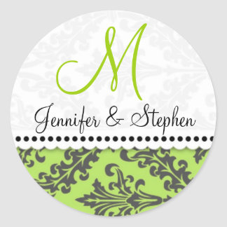 Wedding Monogram Damask Seal Stickers : : Green