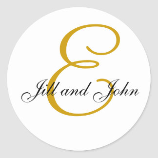 Wedding Monogram E plus First Names Gold Sticker