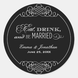Wedding Monogram | Eat, Drink & Be Married Favor Round Sticker
