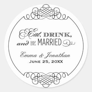 Wedding Monogram | Eat Drink & Be Married Round Sticker