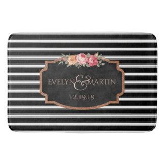 Wedding Monogram | Elegant Black Stripe Bath Decor Bath Mat