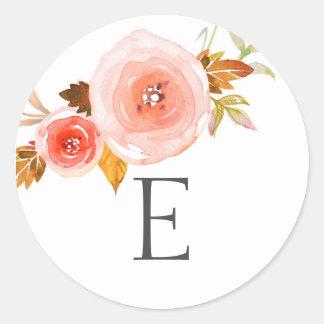 Wedding monogram envelope seals / blush floral round sticker