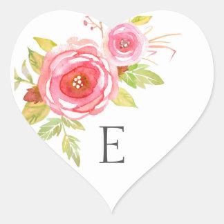 Wedding monogram envelope seals / pink floral heart sticker
