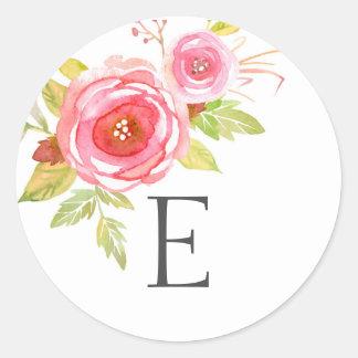Wedding monogram envelope seals / pink floral round sticker