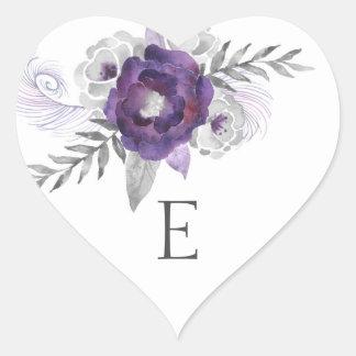 Wedding monogram envelope seals / purple 3963