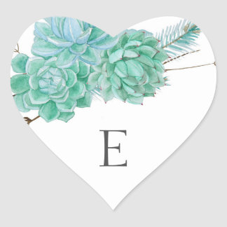 Wedding monogram envelope seals / succulent 3961