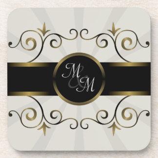 Wedding Monogram Gold Black Elegant Spiral Burst Coasters