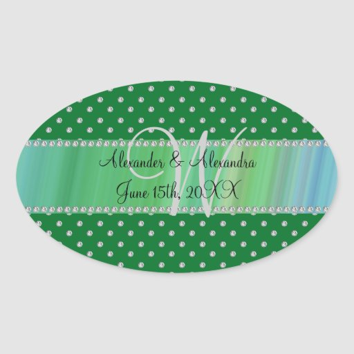 Wedding monogram green diamonds oval stickers