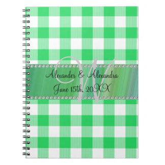Wedding monogram green gingham checkers journals