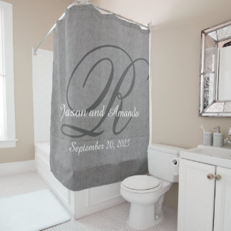 Wedding Monogram Grey Rustic Linen Look Shower Curtain