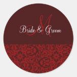 Wedding Monogram In Dark Red Sticker