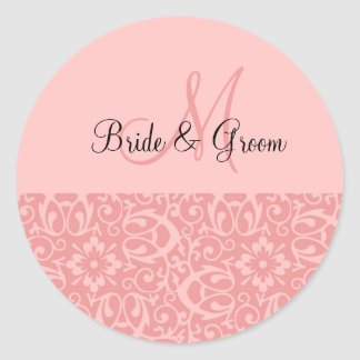 Wedding Monogram In Pink Classic Round Sticker