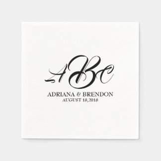 Wedding Monogram Initial Black White Disposable Serviette