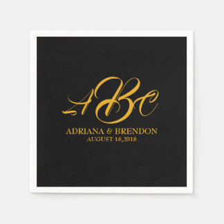 Wedding Monogram Initial Gold Black Disposable Serviettes