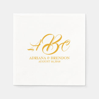 Wedding Monogram Initial Gold White Paper Napkin