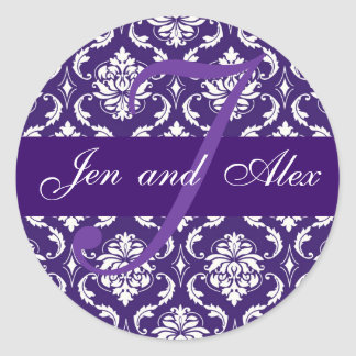 Wedding Monogram J Purple Damask Favor Sticker