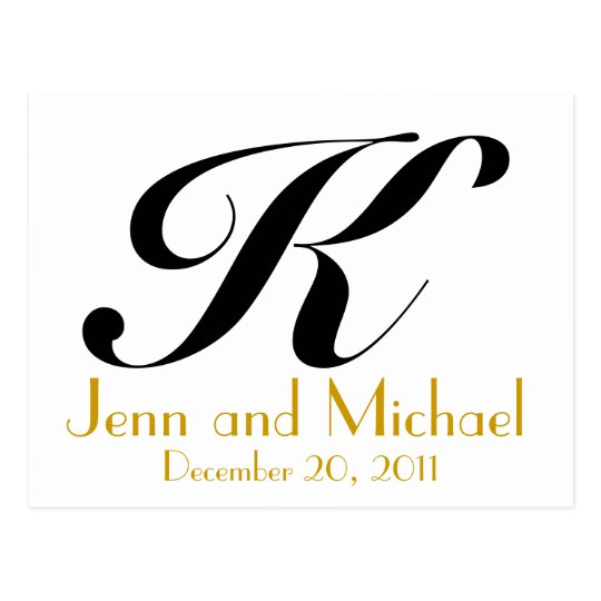 Wedding Monogram K Announcement Card Gold Black