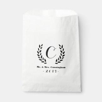 Wedding Monogram Laurel Favour Bag
