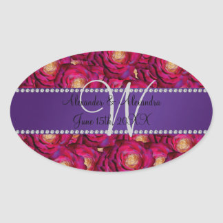 Wedding monogram maroon pink roses oval stickers