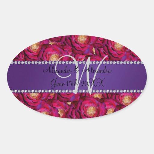 Wedding monogram maroon pink roses oval stickers