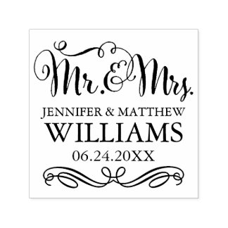 Wedding Monogram | Mr. & Mrs. Self-inking Stamp