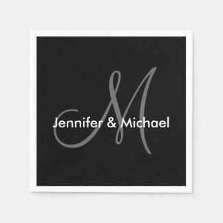 Wedding Monogram Names Black White Grey Disposable Napkins