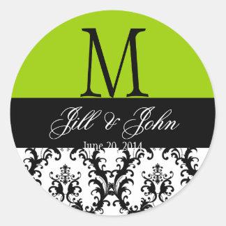 Wedding Monogram Names Damask Apple Green Seal Round Sticker