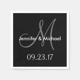 Wedding Monogram Names Date Black White Grey Disposable Napkin