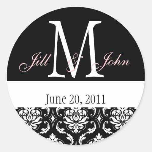 Wedding Monogram Names Date Damask Black White Stickers