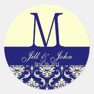Wedding Monogram Names Date Damask Navy Cream Round Sticker