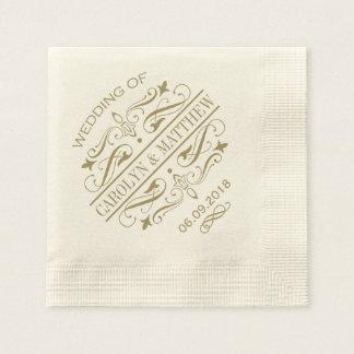 Wedding Monogram Napkins | Antique Gold Flourish Disposable Serviette