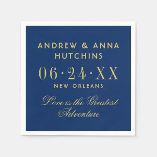 Wedding Monogram Napkins | Navy Blue and Gold Paper Napkin