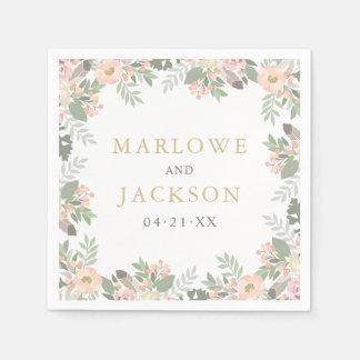 Wedding Monogram Napkins | Spring Vintage Boho Disposable Napkin