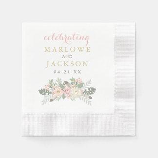 Wedding Monogram Napkins | Spring Vintage Boho Paper Serviettes