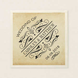 Wedding Monogram Napkins   Vintage Flourish Paper Napkin