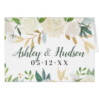 Wedding Monogram | Neutral Watercolor Blooms Card